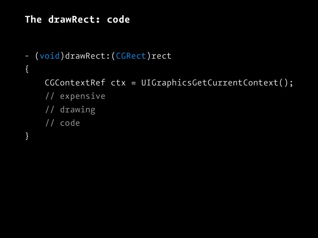 The drawRect: code - (void)drawRect:(CGRect)rec...