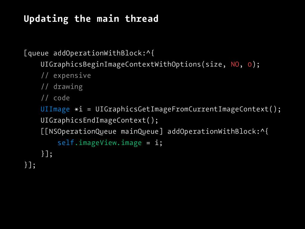 Updating the main thread [queue addOperationWit...