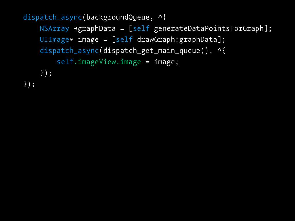 dispatch_async(backgroundQueue, ^{ NSArray *gra...