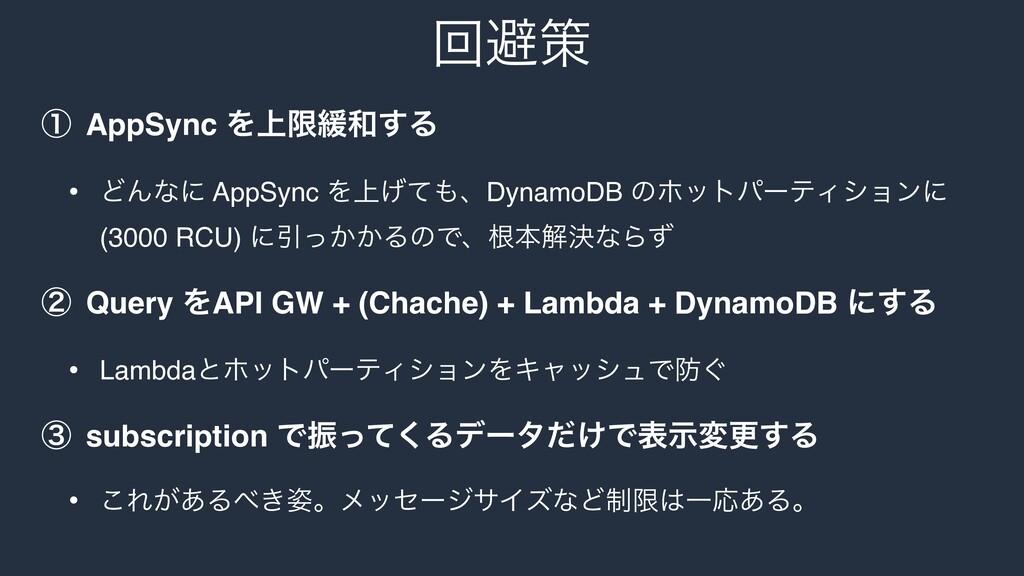 ճආࡦ ᶃ AppSync Λ্ݶ؇͢Δ • ͲΜͳʹ AppSync Λ্͛ͯɺDyna...