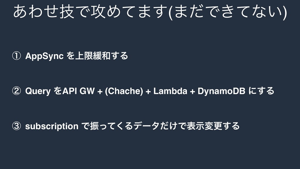 ᶃ AppSync Λ্ݶ؇͢Δ ᶄ Query ΛAPI GW + (Chache) + ...