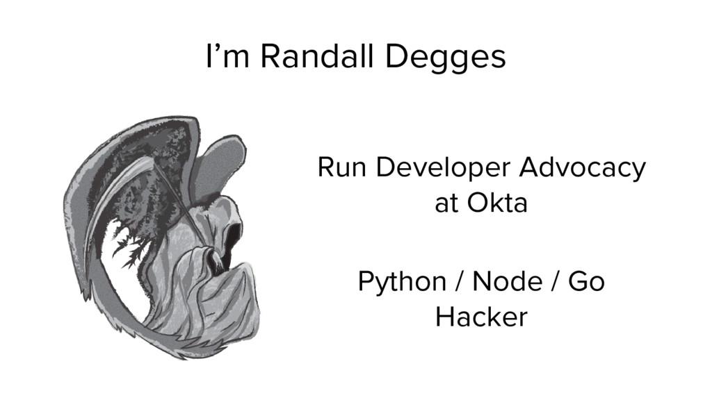 I'm Randall Degges Run Developer Advocacy at Ok...