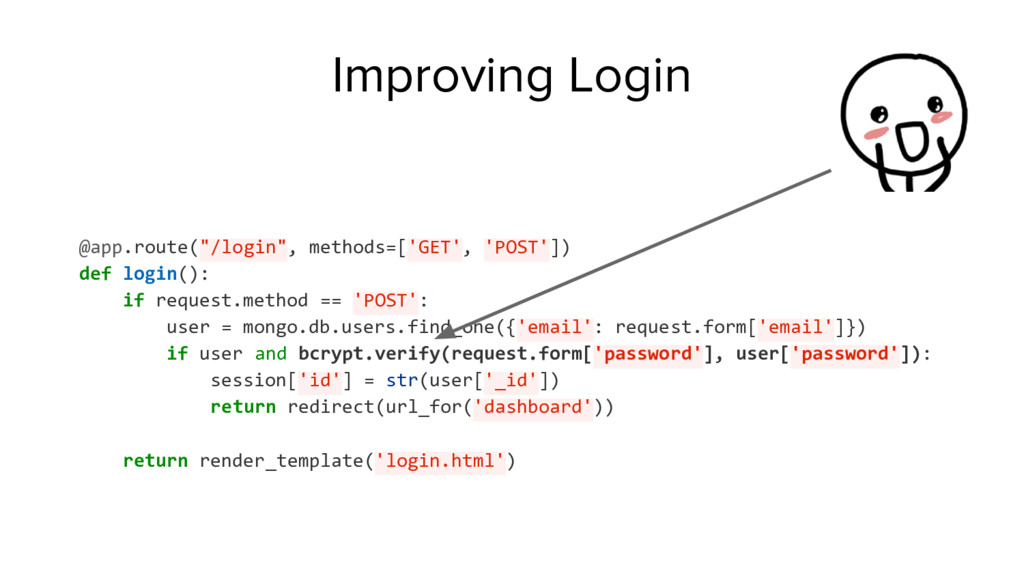 "Improving Login @app.route(""/login"", methods=['..."