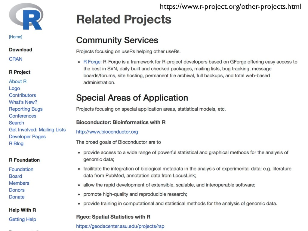 https://www.r-project.org/other-projects.html