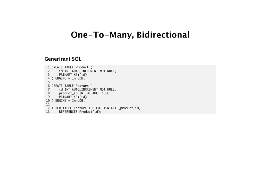 One-To-Many, Bidirectional Generirani SQL 1 CRE...