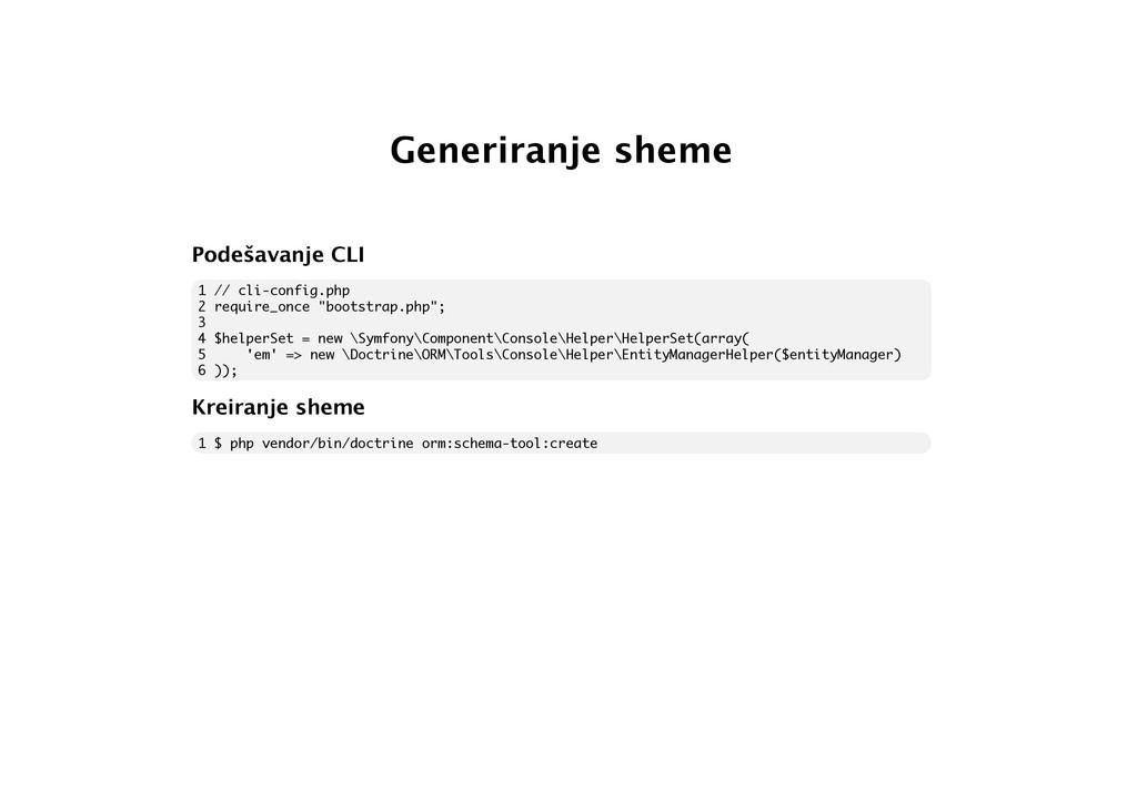 Generiranje sheme Podešavanje CLI 1 // cli-conf...
