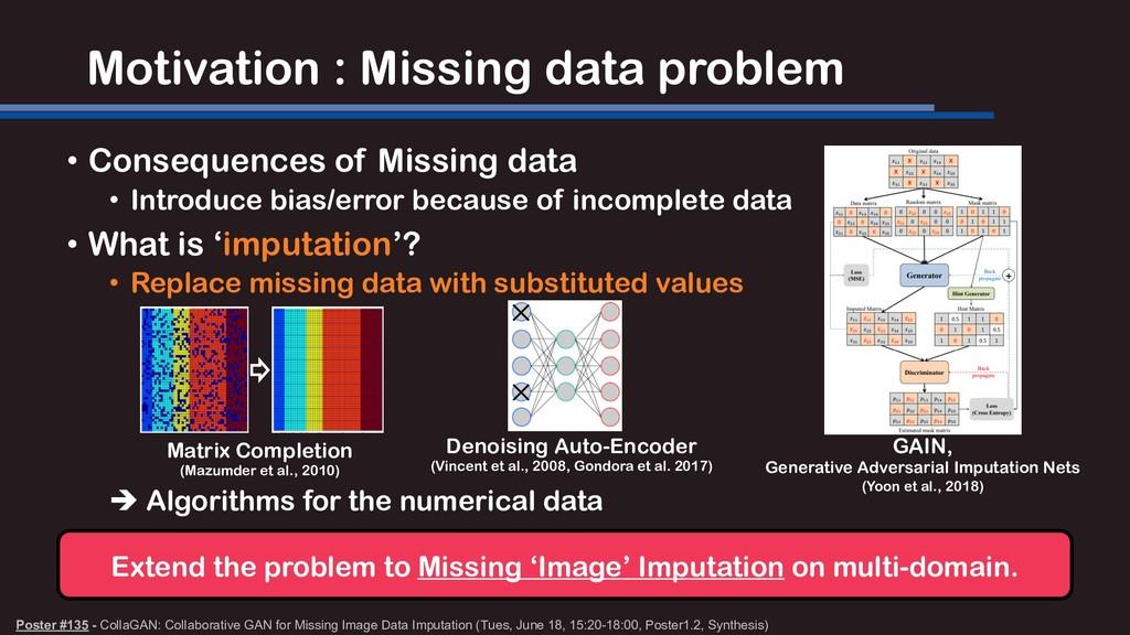 Motivation : Missing data problem Poster #135 -...