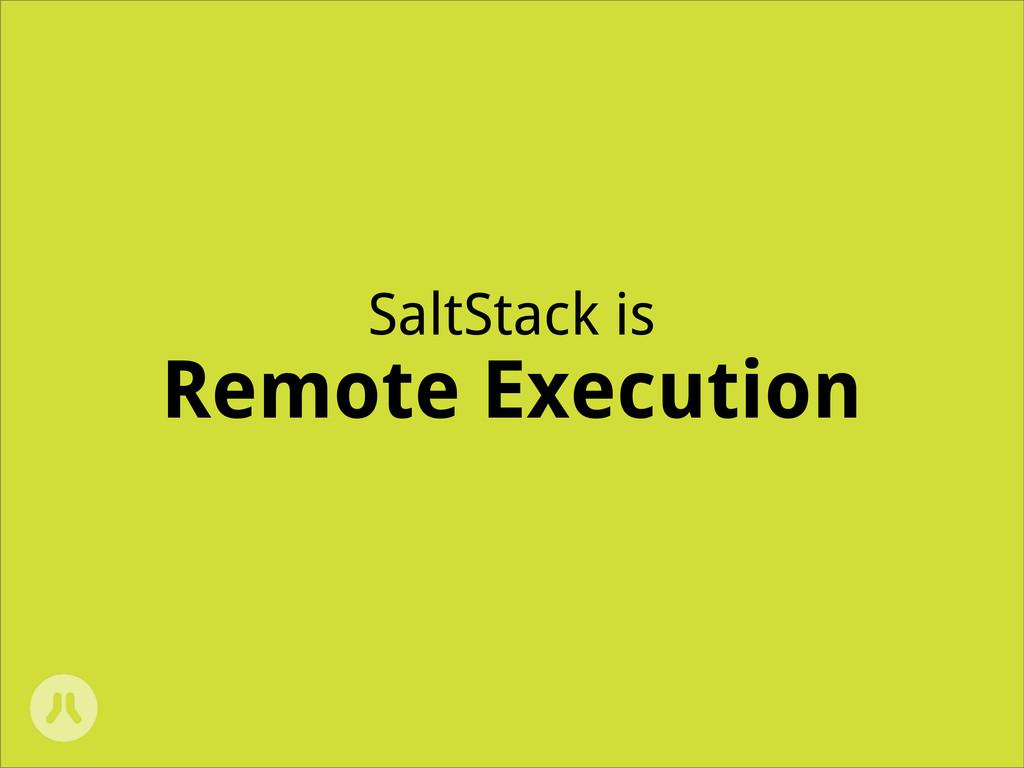 SaltStack is Remote Execution