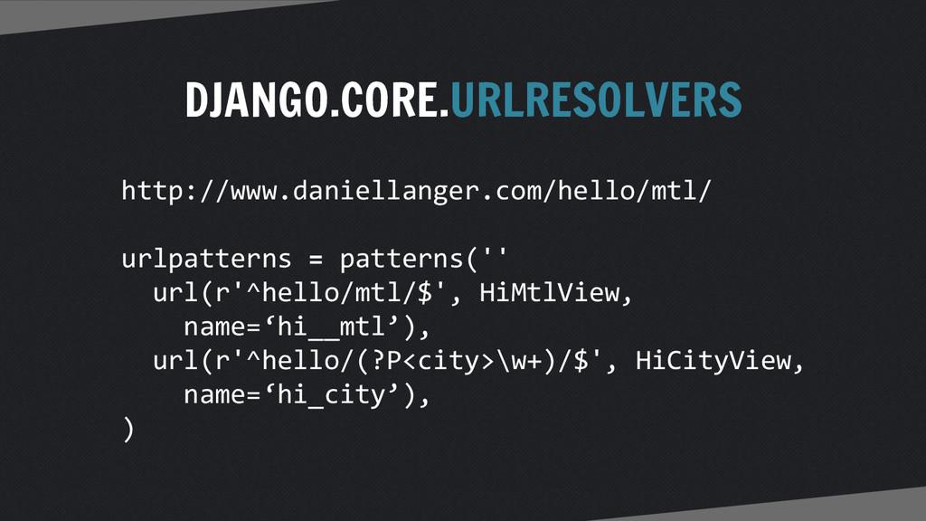 DJANGO.CORE.URLRESOLVERS http://www.daniellange...