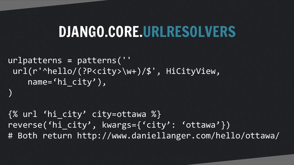 DJANGO.CORE.URLRESOLVERS urlpatterns = patterns...