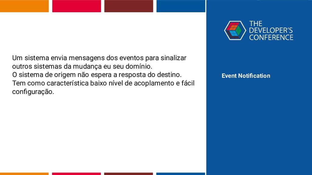 Event Notification Um sistema envia mensagens do...