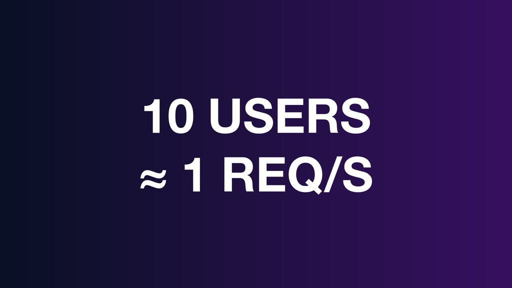 10 USERS ≈ 1 REQ/S