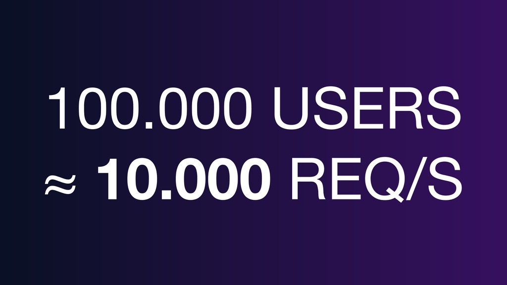 100.000 USERS  ≈ 10.000 REQ/S