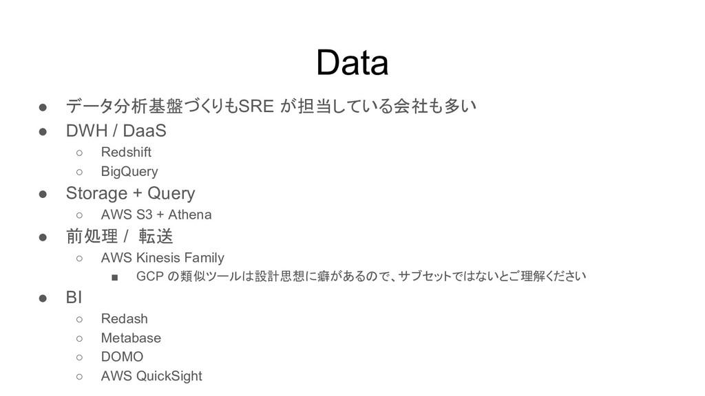 Data ● データ分析基盤づくりもSRE が担当している会社も多い ● DWH / DaaS...