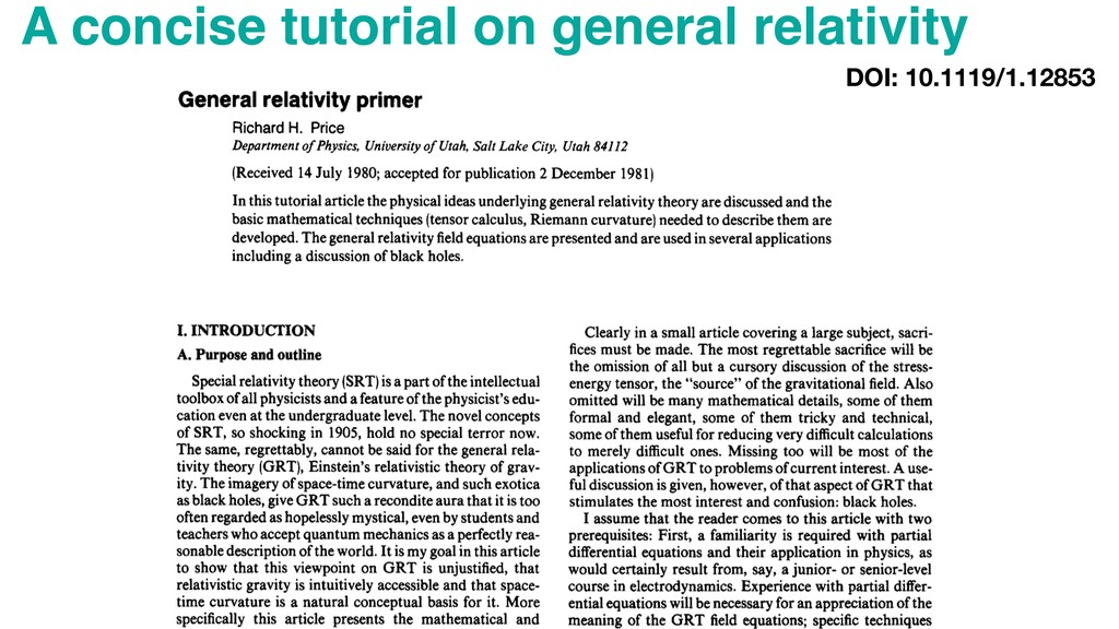 A concise tutorial on general relativity DOI: 1...