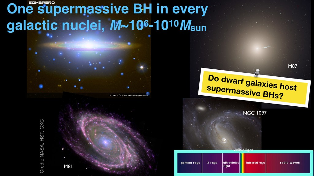 M81 NGC 1097 M87 One supermassive BH in every g...