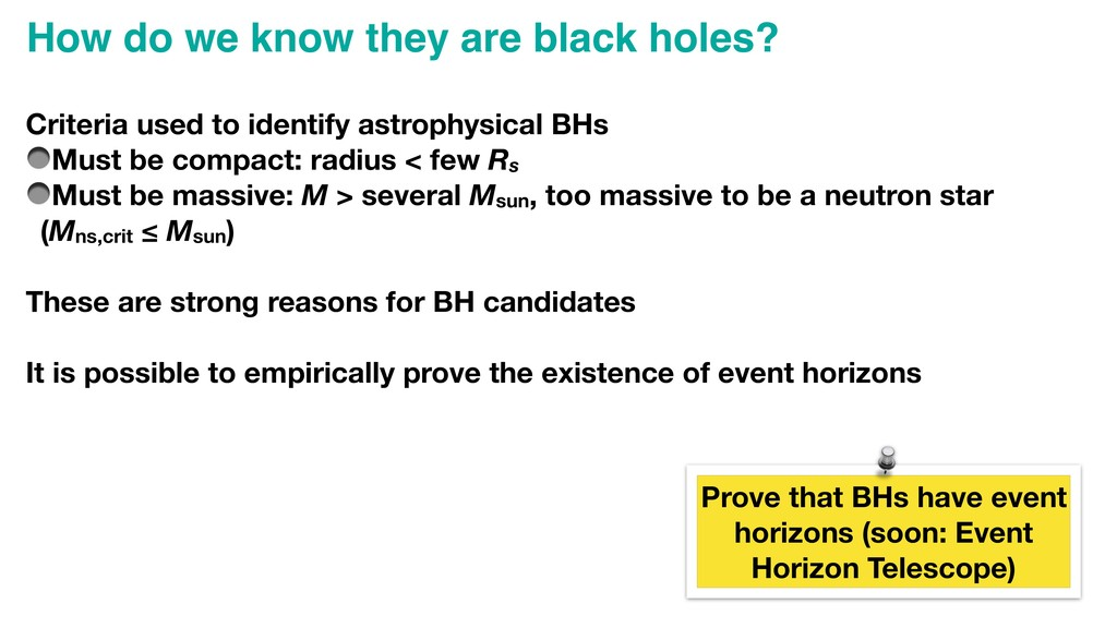 Criteria used to identify astrophysical BHs Mus...