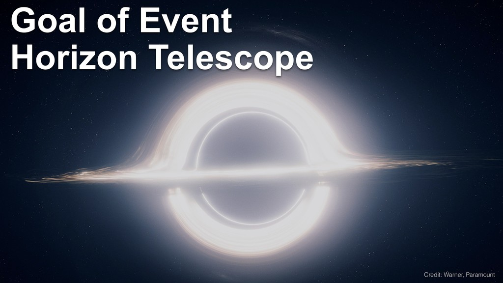 Goal of Event Horizon Telescope Credit: Warner,...
