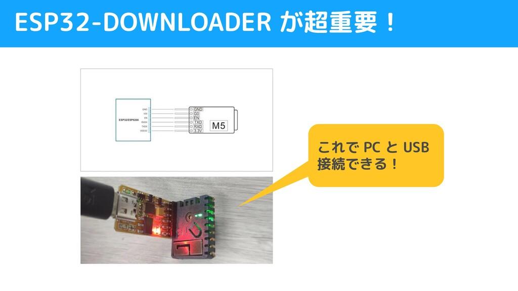 ESP32-DOWNLOADER が超重要! これで PC と USB 接続できる!