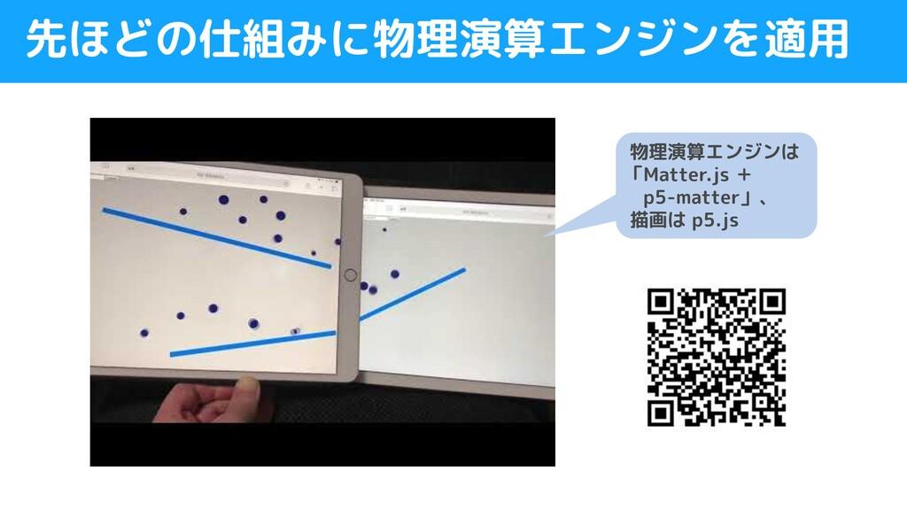 先ほどの仕組みに物理演算エンジンを適用 物理演算エンジンは 「Matter.js +  p5-...