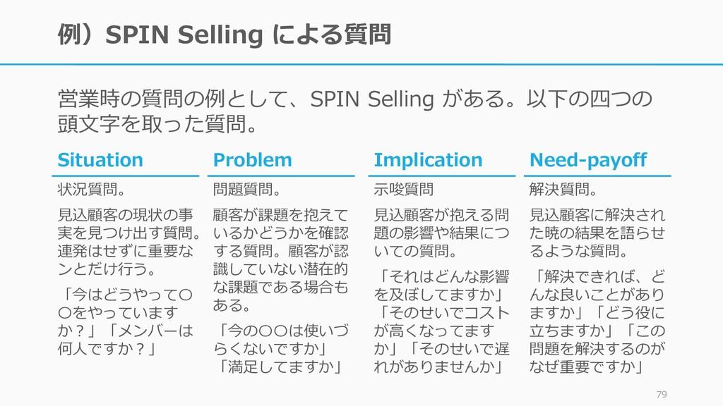 例)SPIN Selling による質問 営業時の質問の例として、SPIN Selling が...