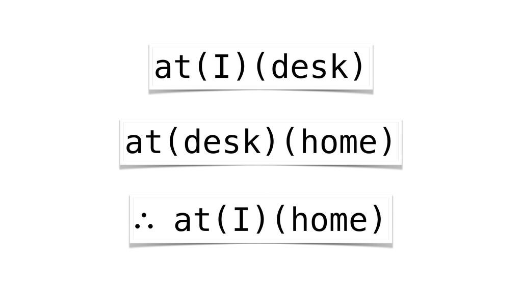 at(I)(desk) at(desk)(home) ∴ at(I)(home)