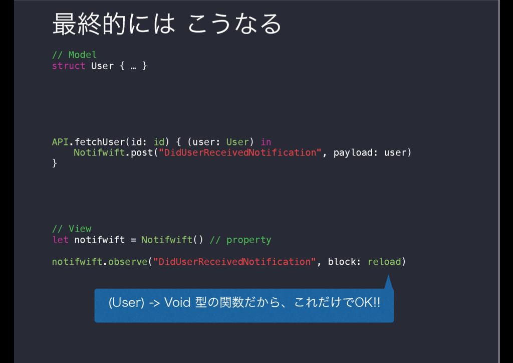 ࠷ऴతʹ͜͏ͳΔ // Model struct User { … } API.fetch...