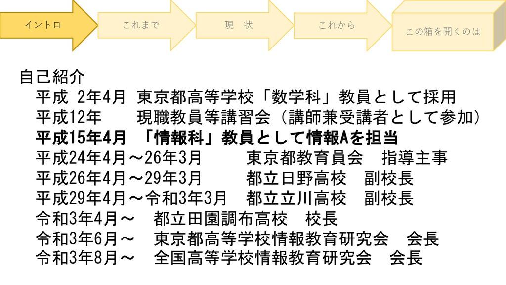 イントロ これまで 現 状 これから この箱を開くのは 自己紹介 平成 2年4月 東京都高等学...