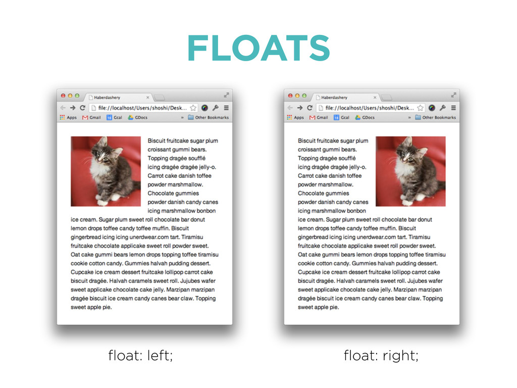 FLOATS float: left; float: right;