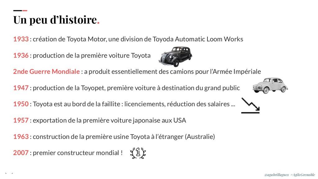 1933 : création de Toyota Motor, une division d...