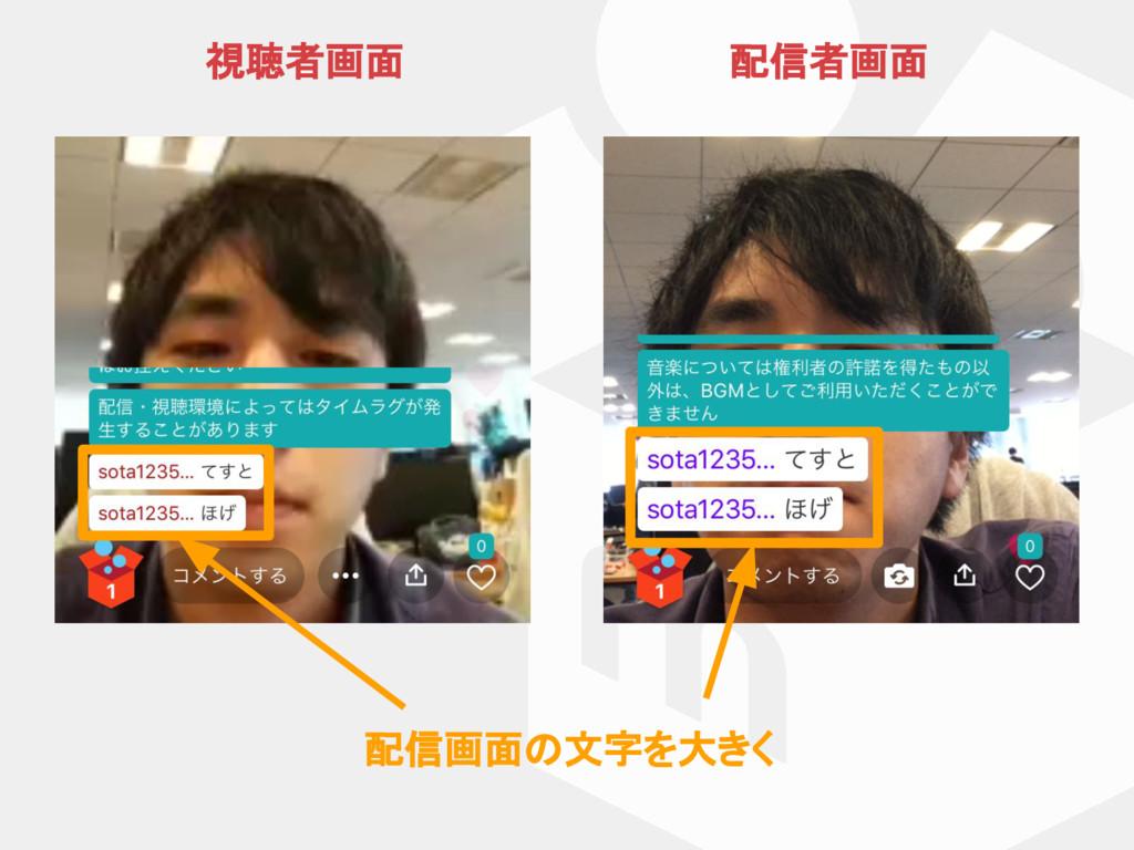 配信画面 文字を大きく 視聴者画面 配信者画面