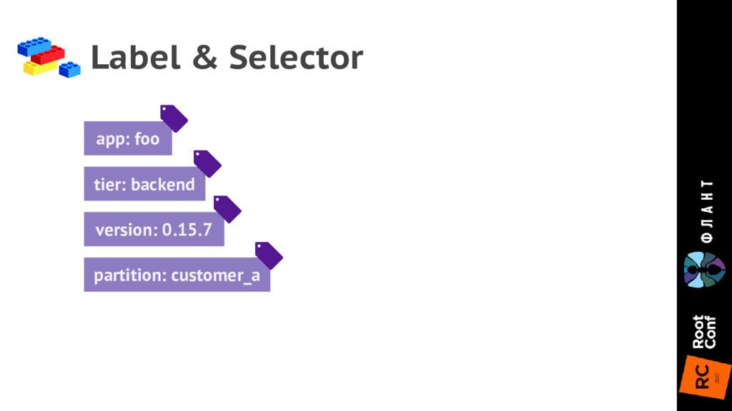 Label & Selector app: foo tier: backend version...