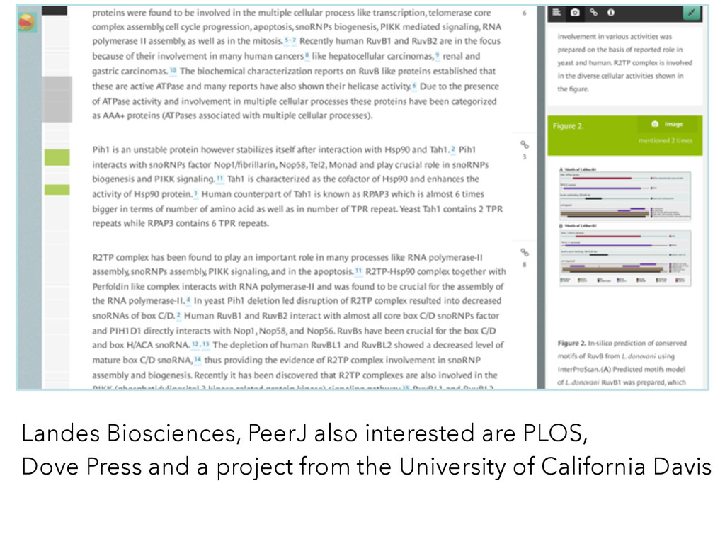 Landes Biosciences, PeerJ also interested are P...
