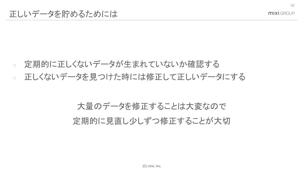 (C) mixi, Inc. ○ 定期的に正しくないデータが生まれていないか確認する ○ 正し...
