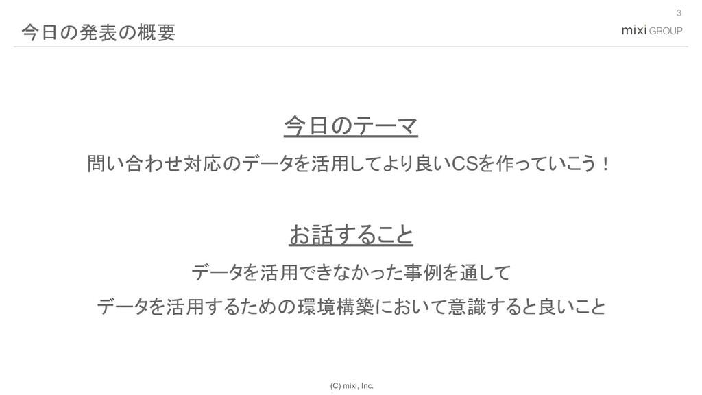 (C) mixi, Inc. 今日のテーマ 問い合わせ対応のデータを活用してより良いCSを作っ...