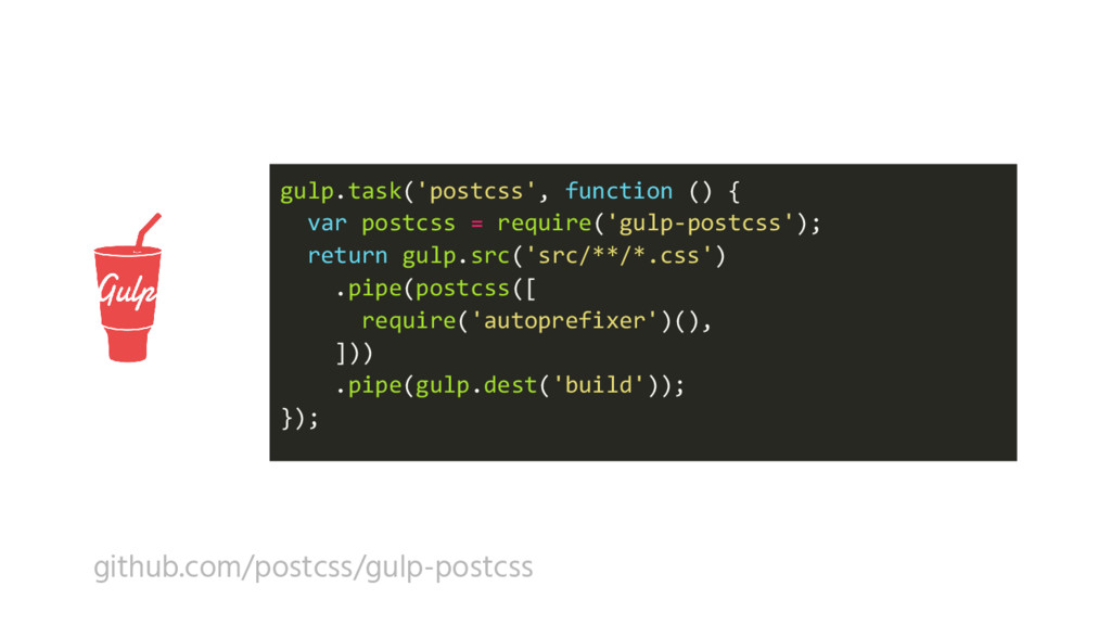 gulp.task('postcss', function () { var postcss ...