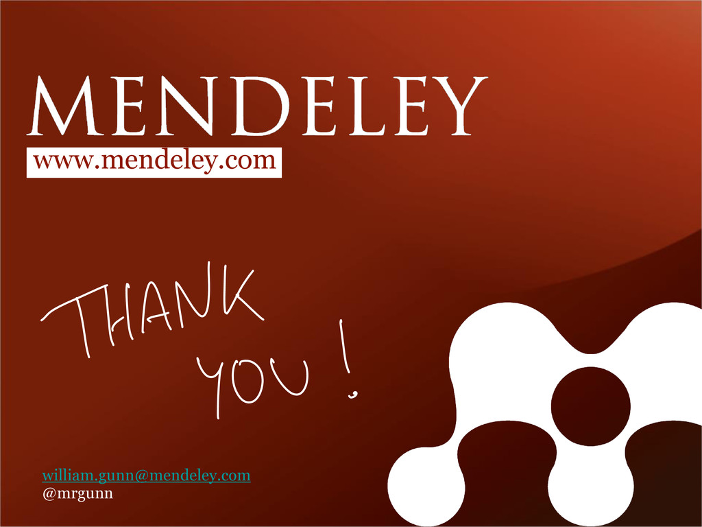 www.mendeley.com william.gunn@mendeley.com @mrg...