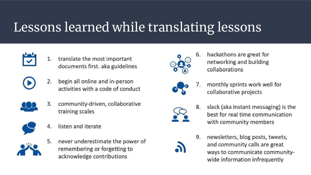 Lessons learned while translating lessons
