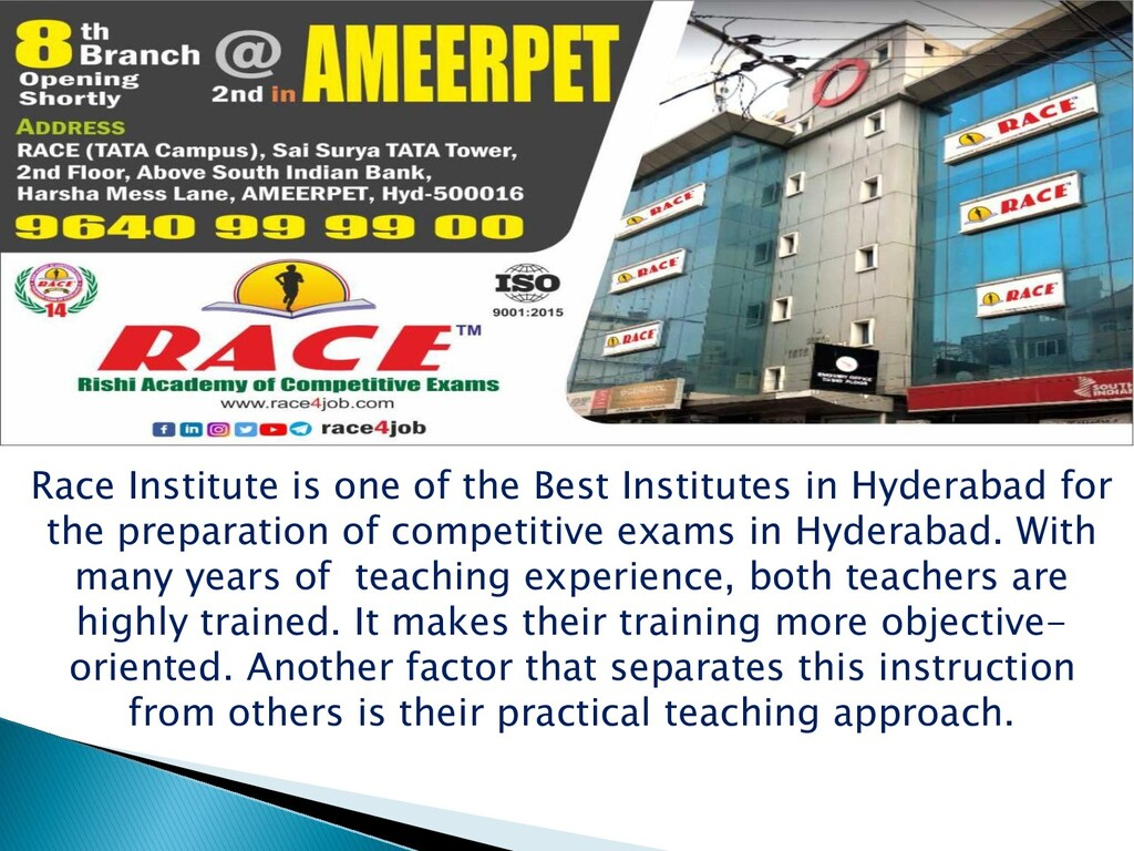 Race Institute is one of the Best Institutes in...