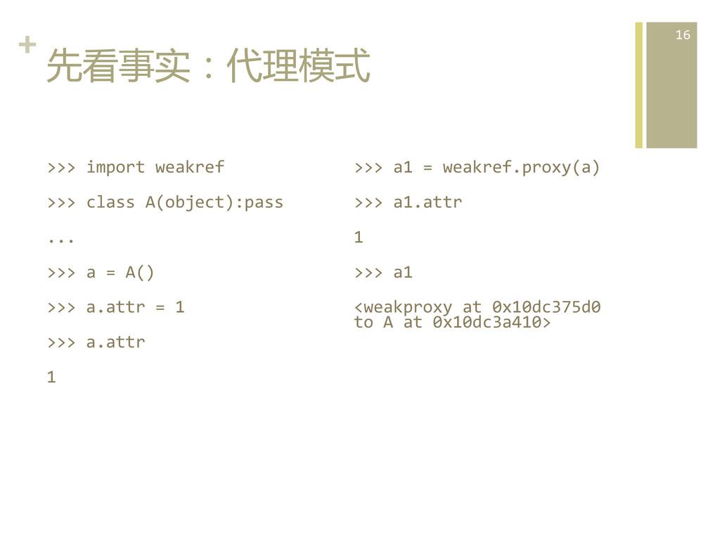 +  先看事实:代理模式  >>> import weakref ...