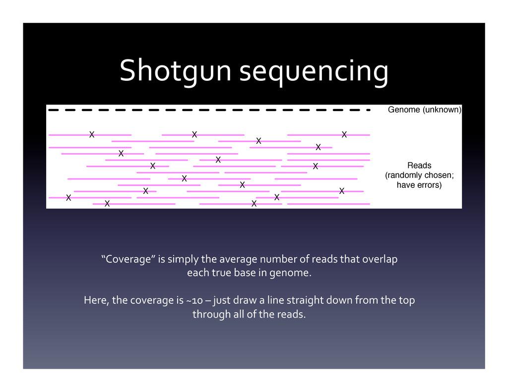 Shotgun sequencing  Genome (unknown) X X ...