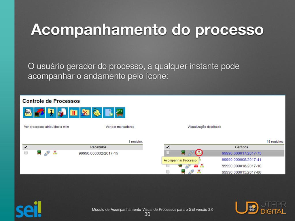 Acompanhamento do processo O usuário gerador do...