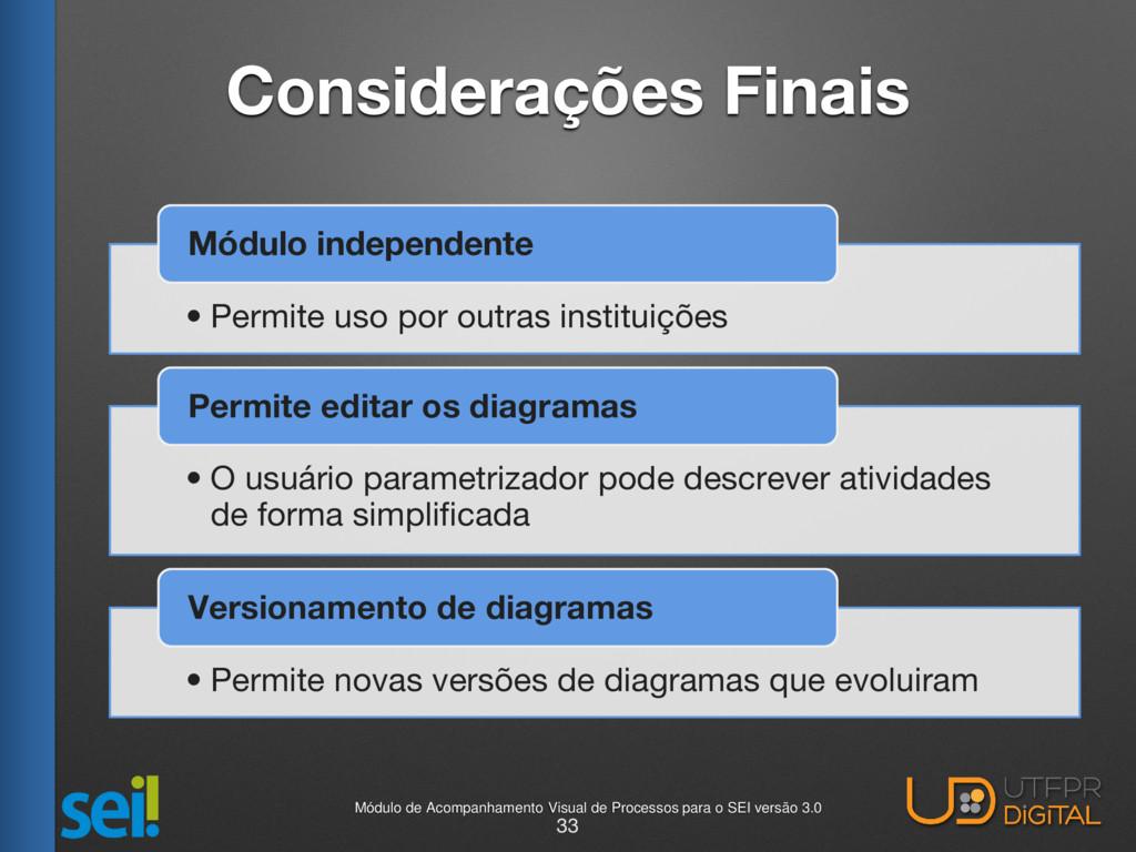 Considerações Finais • Permite uso por outras i...