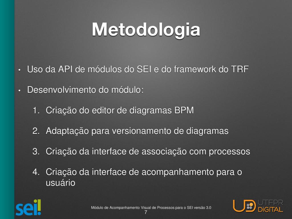 Metodologia • Uso da API de módulos do SEI e do...