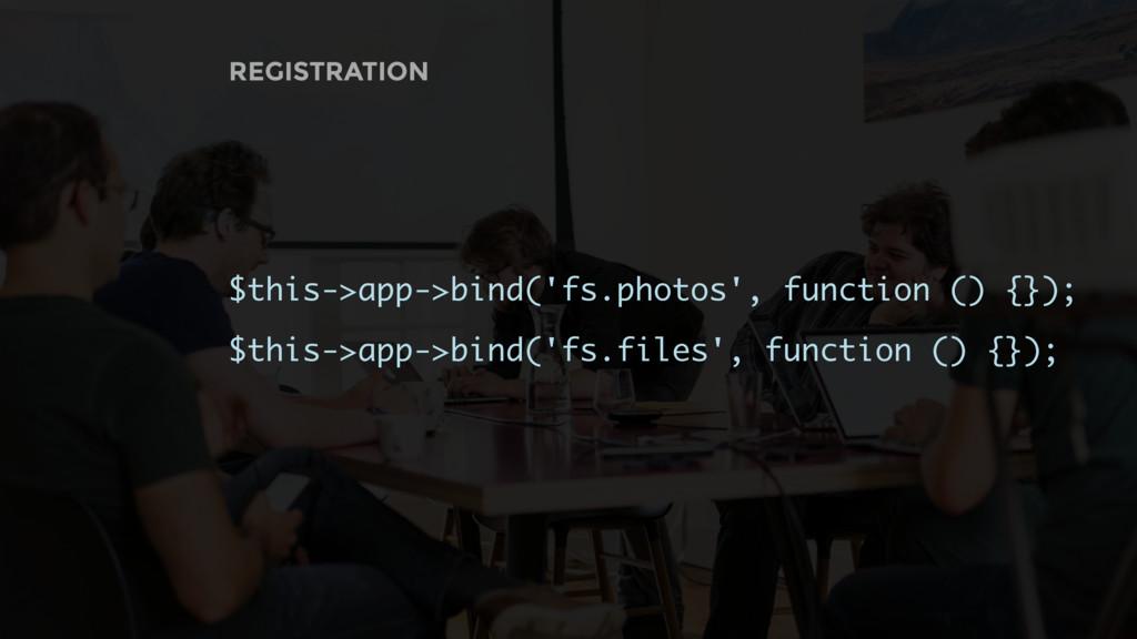 REGISTRATION $this->app->bind('fs.photos', func...