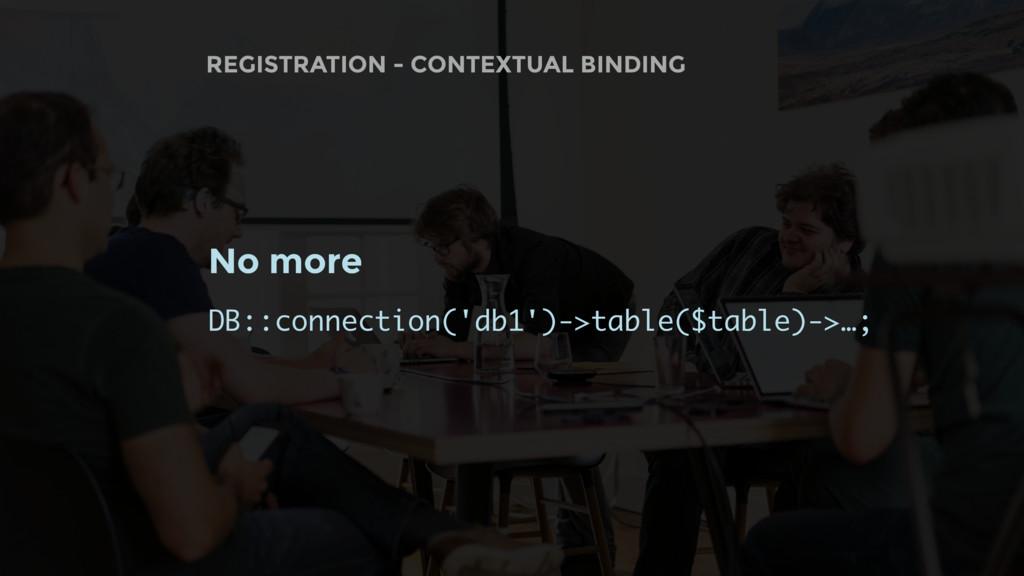REGISTRATION - CONTEXTUAL BINDING No more DB::c...