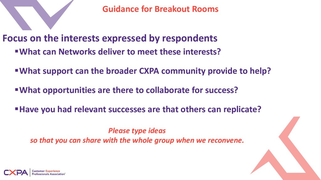 Guidance for Breakout Rooms What can Networks ...