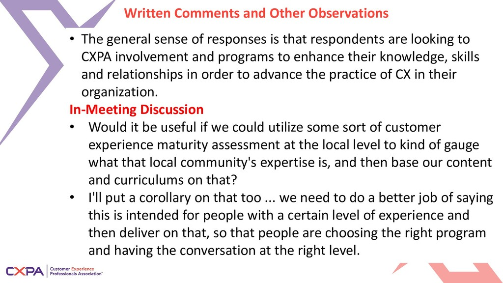 Written Comments and Other Observations • The g...