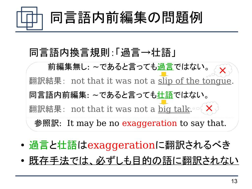 13 同言語内換言規則:「過言→壮語」 前編集無し: ~であると言っても過言ではない。 翻訳結...