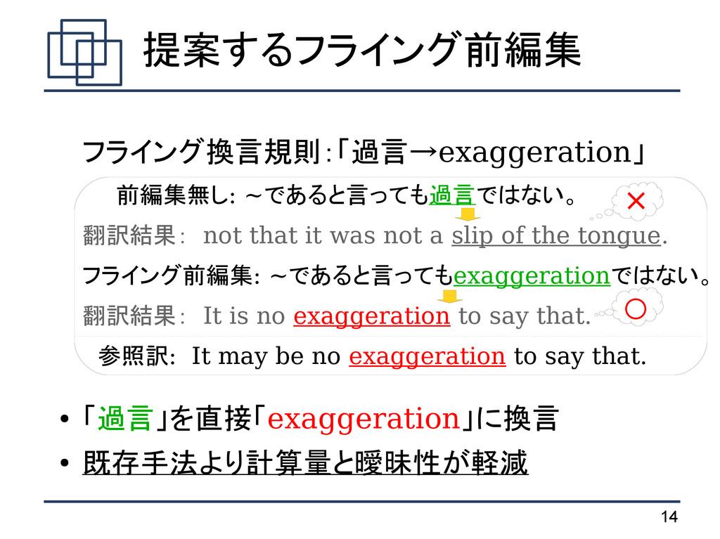 14 フライング換言規則:「過言→exaggeration」   前編集無し: ~であると言っ...